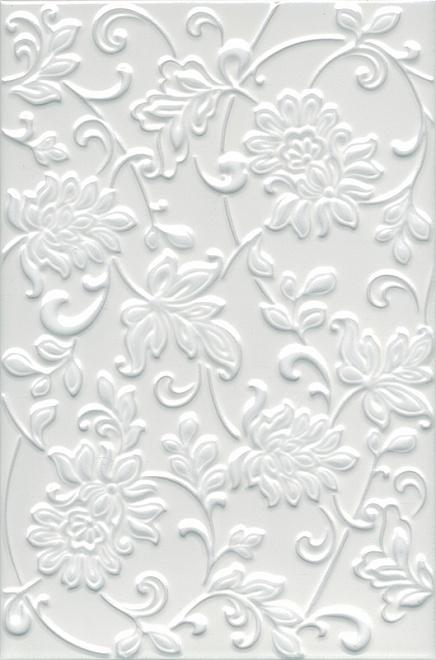 Плитка АДЖАНТА цветы белый