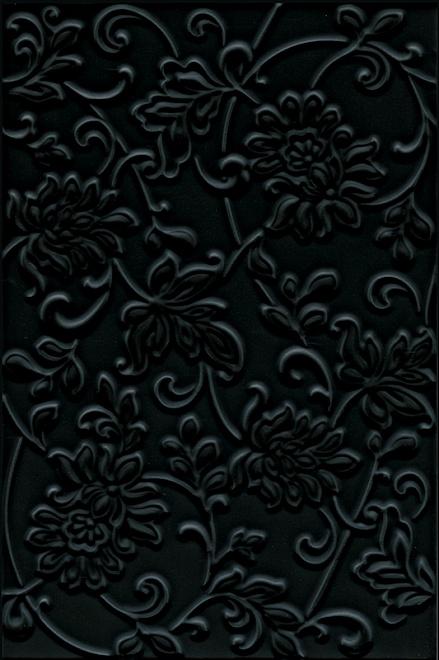 Плитка АДЖАНТА цветы черный