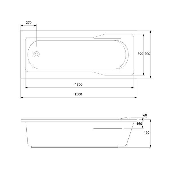 Ванна прямоугольная SANTANA 150