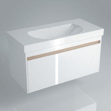 Тумба подвесная для раковины BUONGIORNO 100 с 1+1 ящиками белая