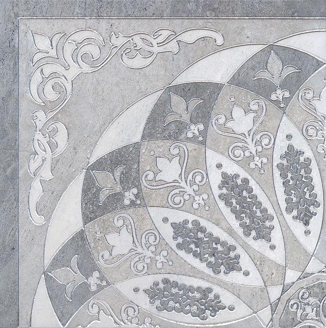 Декор МОНТАНЬОНЕ серый лаппатированный 1/4 розона