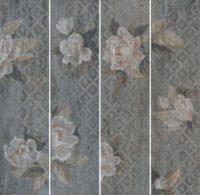 Керамогранит ПОДЖИО Цветы серый 3 сорт